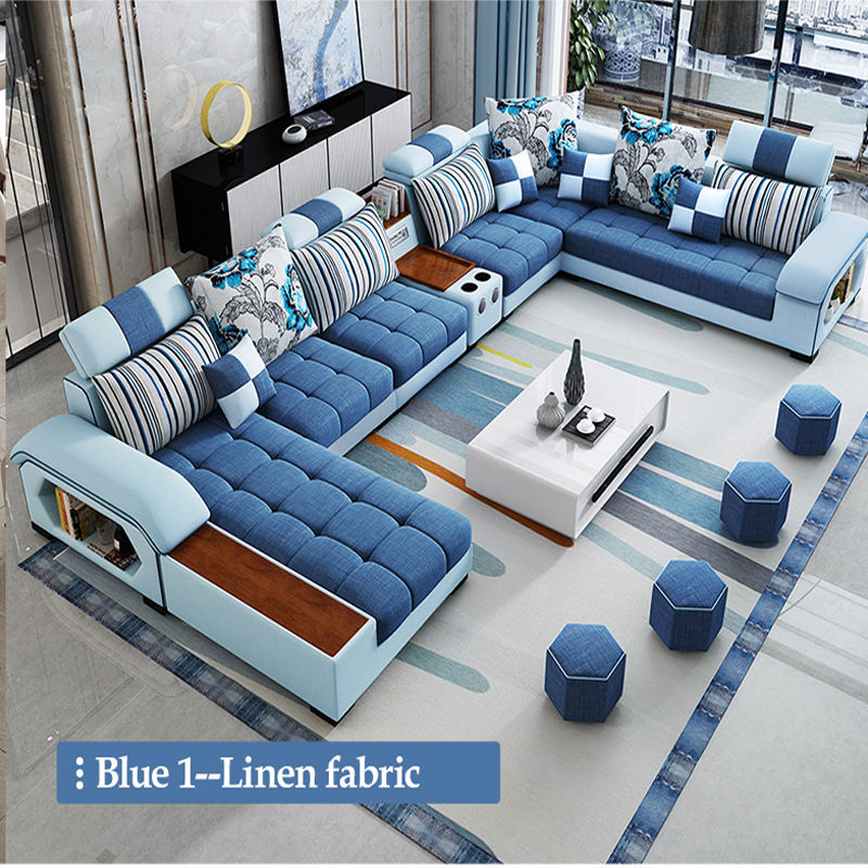 Elegant Furniture Living Room Wooden Frame 5 Seater Fabric Cleopatra l Sectional Corner Armchair Sofas with Single Seat Chair
