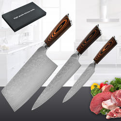 Manufacturer Damascus knife set, color wood three-piece kitchen knife set, high-grade gift kitchen knife set