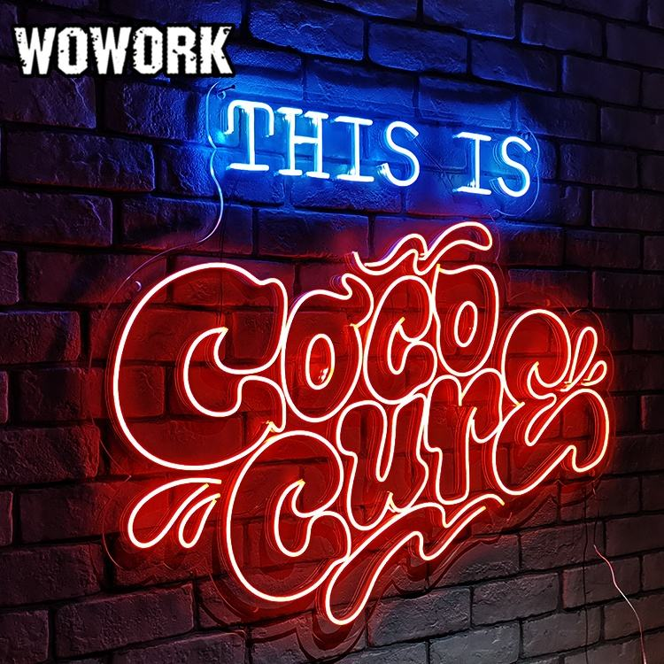 WOWORK Simple Style flexible neon light DC 12v Fashionable LED dmx flex Neon Sign for Outdoors or Indoors wall mounted