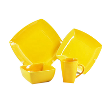 FDA Ceramic Yellow Dinner Set Dinnerware 16 pcs Square Ceramic Stoneware