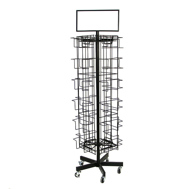 Movable Rotatable 24 Pocket Greeting Card WIre Display Spinner Rack