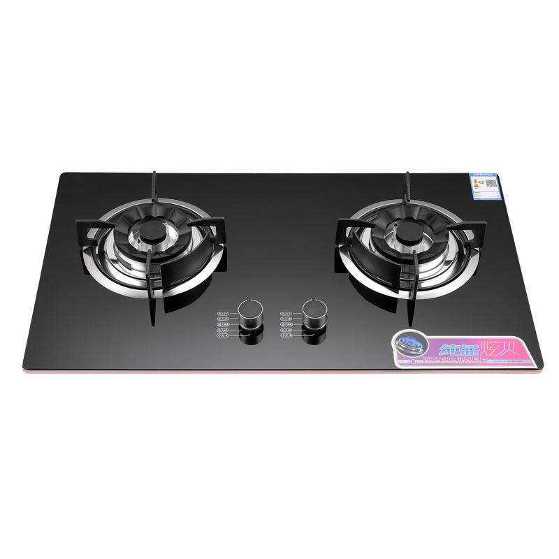 Flame Cooktop 2 Burner Gas Stove High Quality Good Fire Blue Black Ceramic Glass Electric Ignition Cast Iron Pan Support CN;GUA