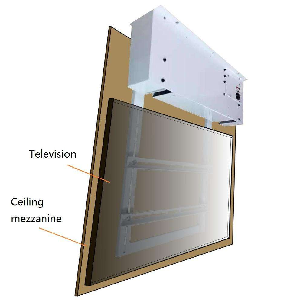 Motorized flip-down ceiling tv mounts with remote control completely TV hide in the ceiling lifts
