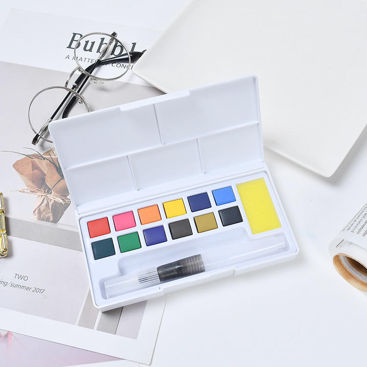Professional 12/18/24/36 Colors Solid Watercolor Paint Set With Water Brush Pen Hand Painted Water Color Paint