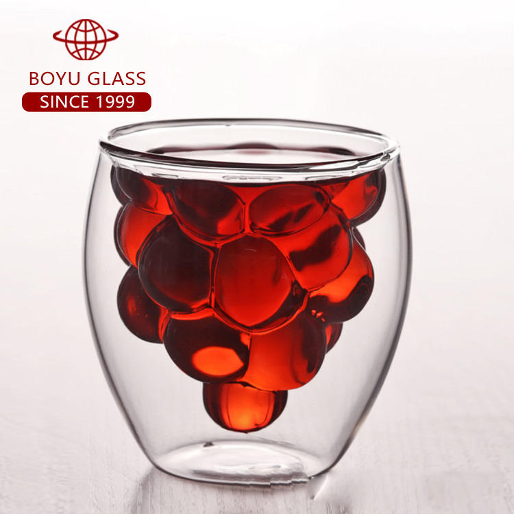 Fruit Vormige 150-250Ml Double Wall Cup 5Oz-8.5Oz Voor Sap Glas