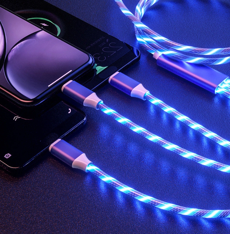 30 Pecent Off Streamer led flowing light Fast Charging 3 in 1 Micro Type c 3A Quick Charger Led Charging USB Cable