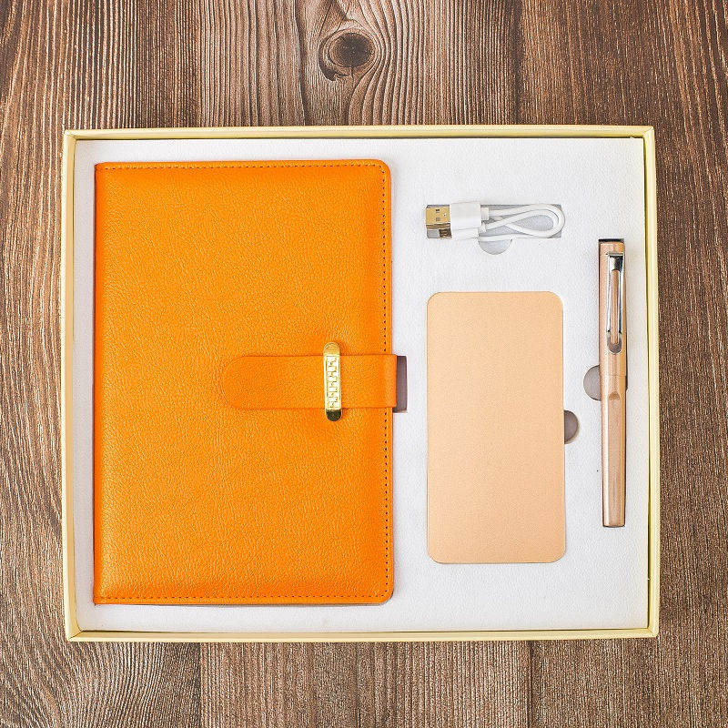 High quality delicate powerbank pen gift sets notebook for trade show