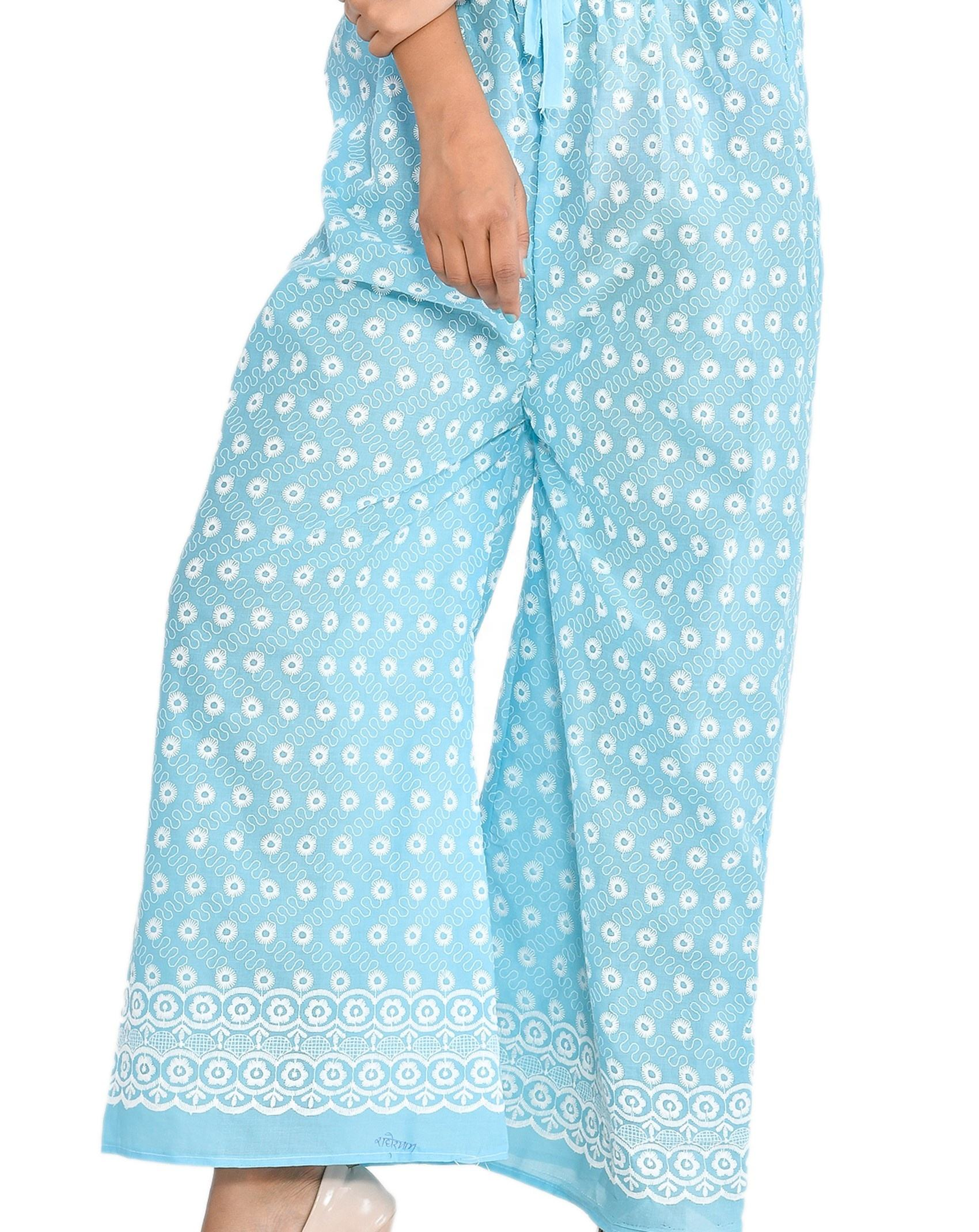 Latest Indian Traditional Chicken Embroidery Cotton Blue Party Wear Women Long Trousers High Waist Palazzo Pant Wholesale