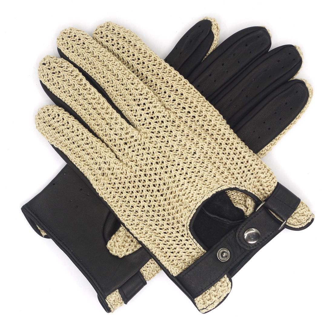 Mens Lambskin Leather Crochet Stringback Driving Gloves Touchscreen beige
