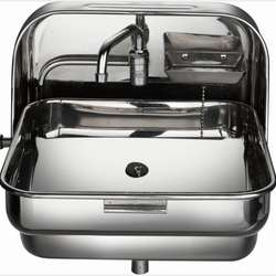 Stainless Steel Folding Sink with Cold Water Faucet RV Caravan Boat 370*390*180/375 mm GR-595
