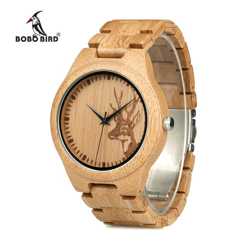 BOBOBIRD Minimalist Mens Bamboo Quartz Wood Watch