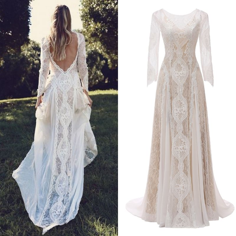 2020 FANWEIMEI#830 100% REAL PICTURE Bohemian Long Sleeve Beach BOHO photography Wedding party Dress Bridal gown