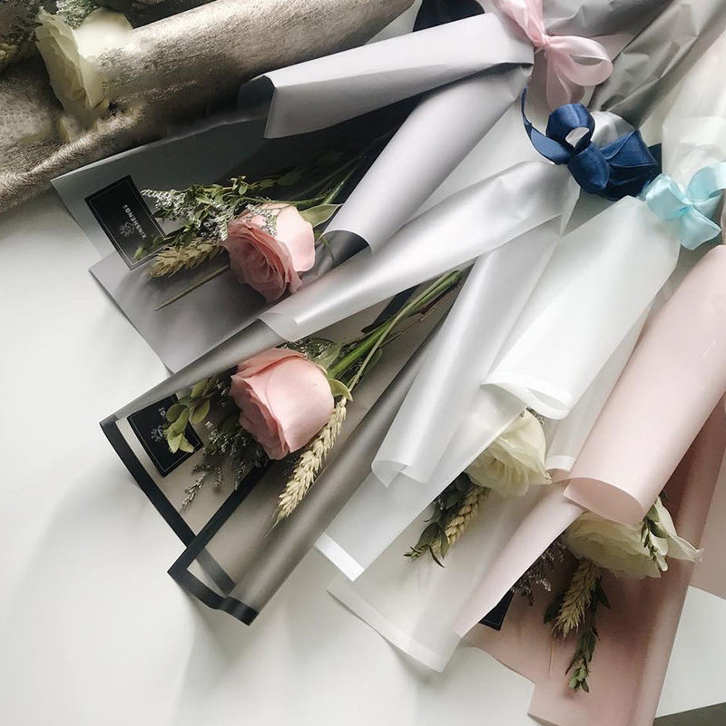 ZL Korean Luxury Multicolor Border Matte Handmade Floral packaging Paper OPP Waterproof Bouquets Flower Wrapping Paper