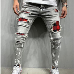 Factory direct sale mens painted jeans plaid patchwork ripped skinny jeans men
