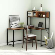 L Shaped Desk with Storage, Corner Desk with Hutch for Home Office