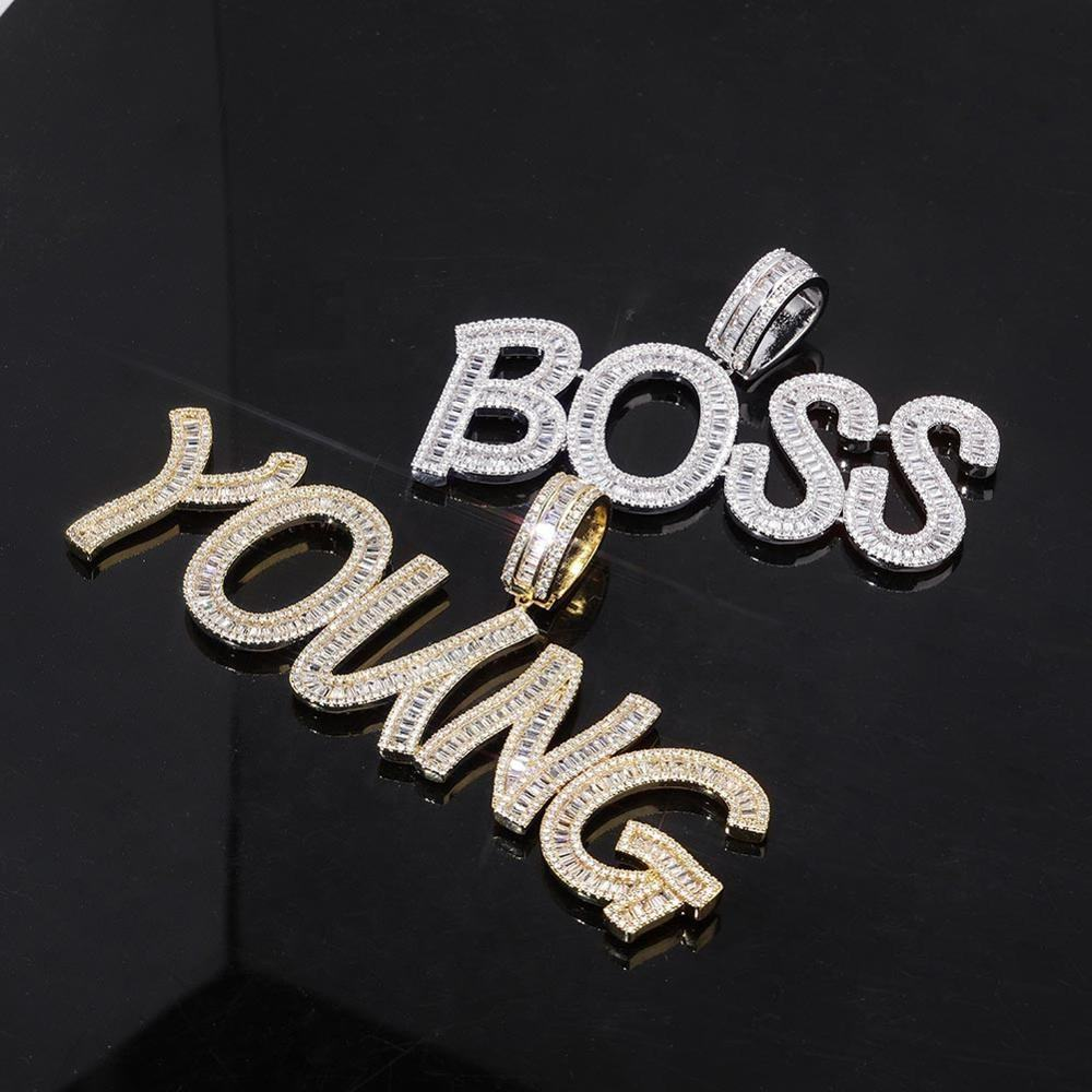 Custom Name Baguette Letters Iced Out Chain Pendants Necklaces Men's Charms Zircon Hip Hop Jewelry With Gold Silver Tennis Chain