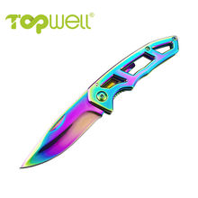 Portable pocket knife in Stainless Steel skeleton handle with Titanium coloful for Outdoor Camping Hunting Fishing and Hiking