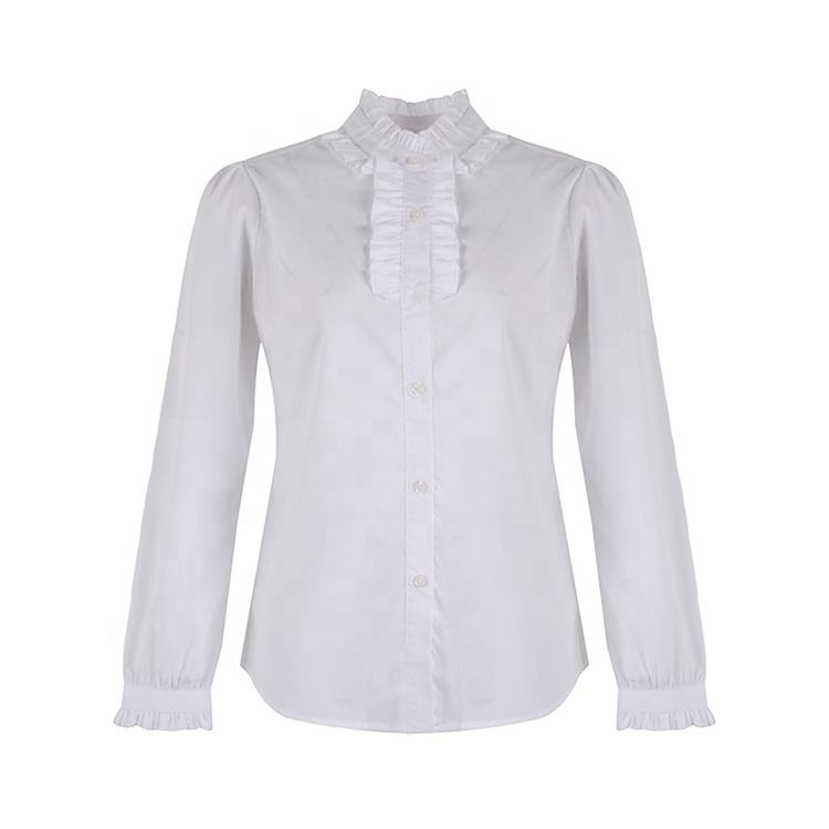 Pure cotton woven plain dyed white elegant full sleeve ruffle collar office shirt blouse women tops