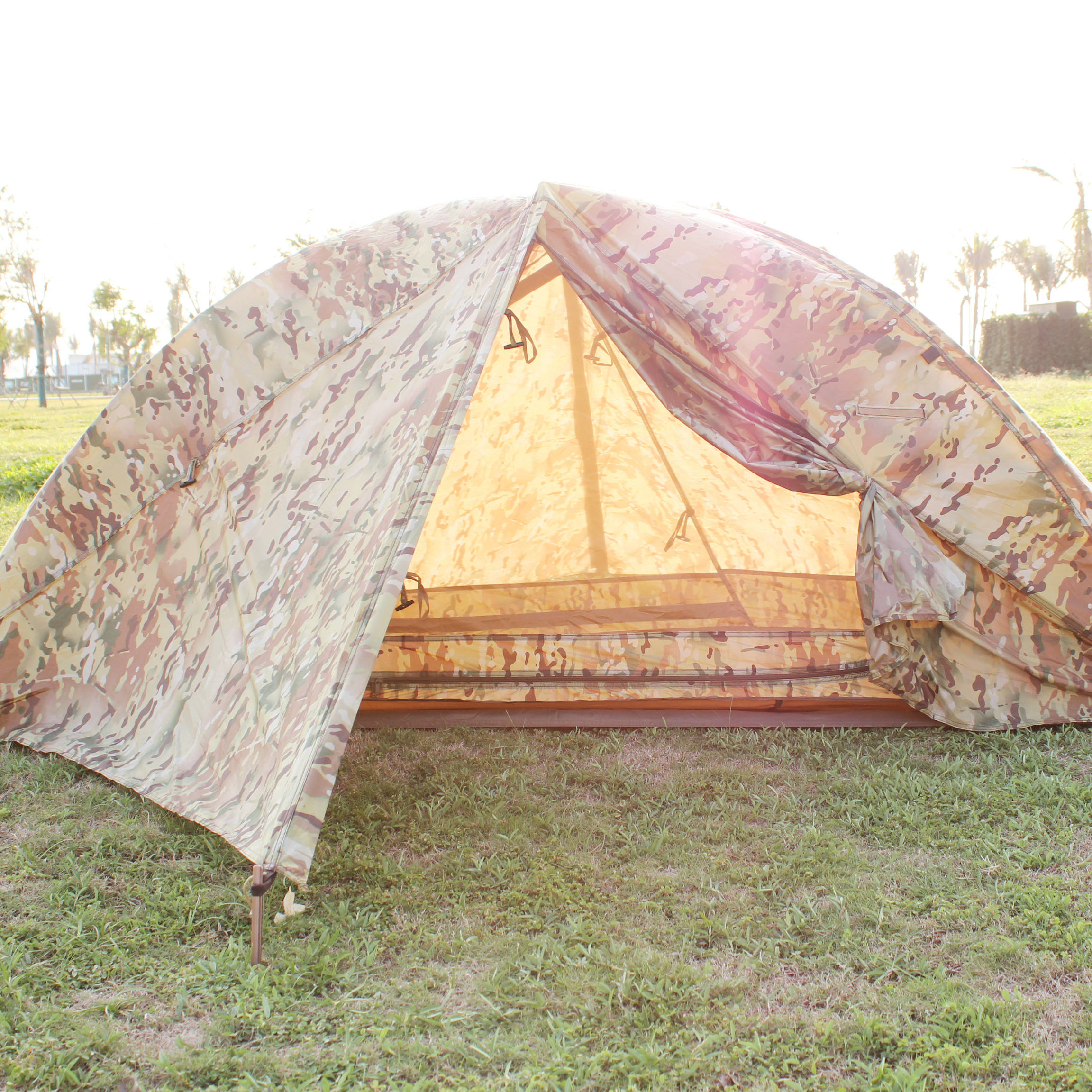 cp camouflage multi camo 1 person tent with mosquito net for camping folding cot bed
