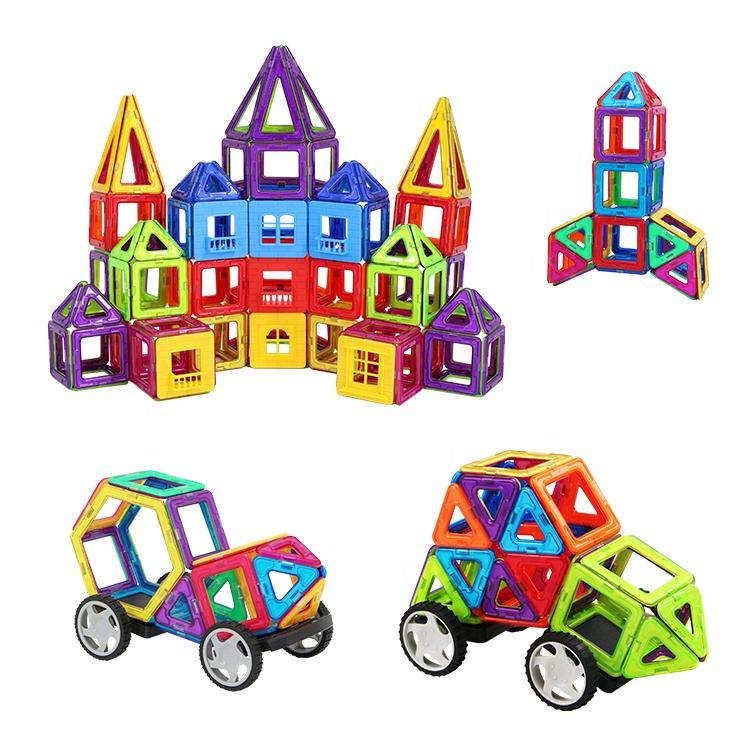 Preschool 102pcs plastic magnetic building blocks safe 3d diy construction toys educational stem toy for kids