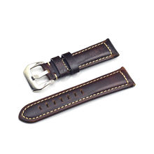 Onthevel Mens Oil Wax Calfskin Handmade Leather Watch Band 20mm 22mm 24mm 26mm Black Brown Blue Vintage Watch Straps for Panerai