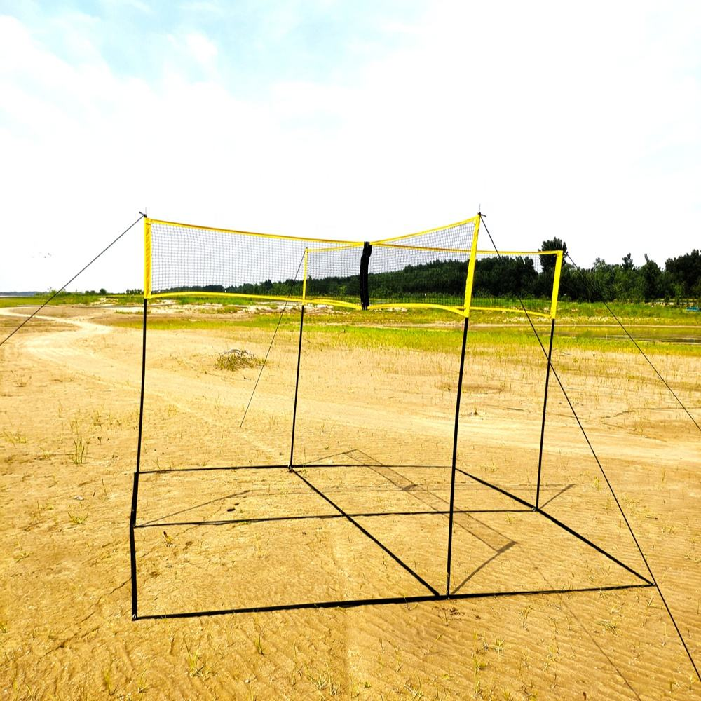 Large Stock Beach Camping Yard Game Portable Four Square Meets Beach Volleyball Net And Post Set Wholesale