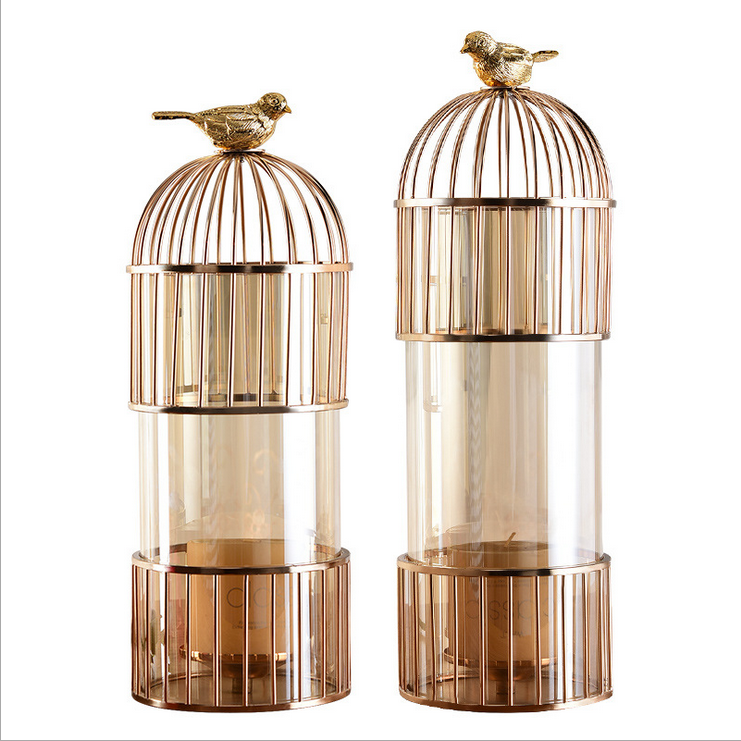 Manufacturers wholesale light luxury modern alloy iron art golden birdcage vase decoration table top