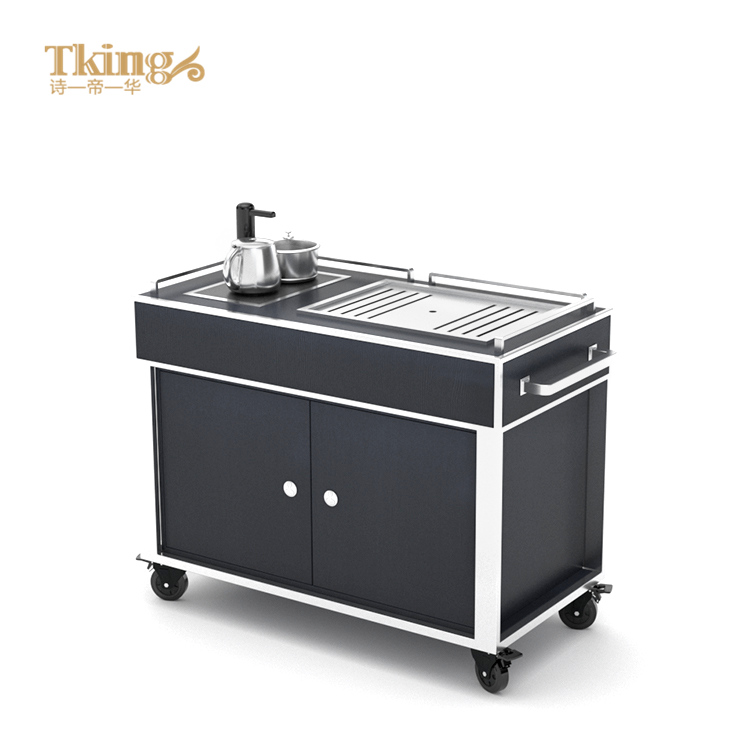 Factory direct custom luxury tea serving trolley for 5 star hotel