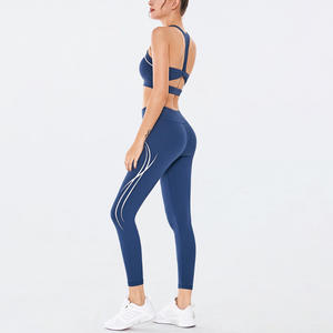 Delle donne di Yoga Top Con Pantaloni A Vita Alta Workout Leggings Usura di Yoga di Sport Set