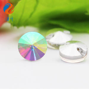 High Quality Hot Sale K9 Glass AB Color Crystal Glass Crystal Button Sewing Crystal Stones Button for Clothing