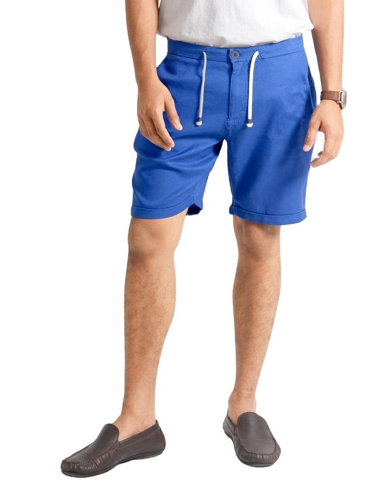 High Quality Summer Cotton Fabric Slim Fit Blue Shorts Bermudas For Men