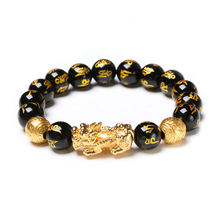 2020 New Fashionable Feng Shui Black Obsidian Bracelet Beads Imitate Crystal Glass Charm Feng Shui Bracelet