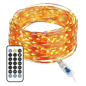 5m 10m Remote control LED Copper Wire String Lights LED Fairy Lights Felt Christmas Decoration Battery Operate Twinkle Light