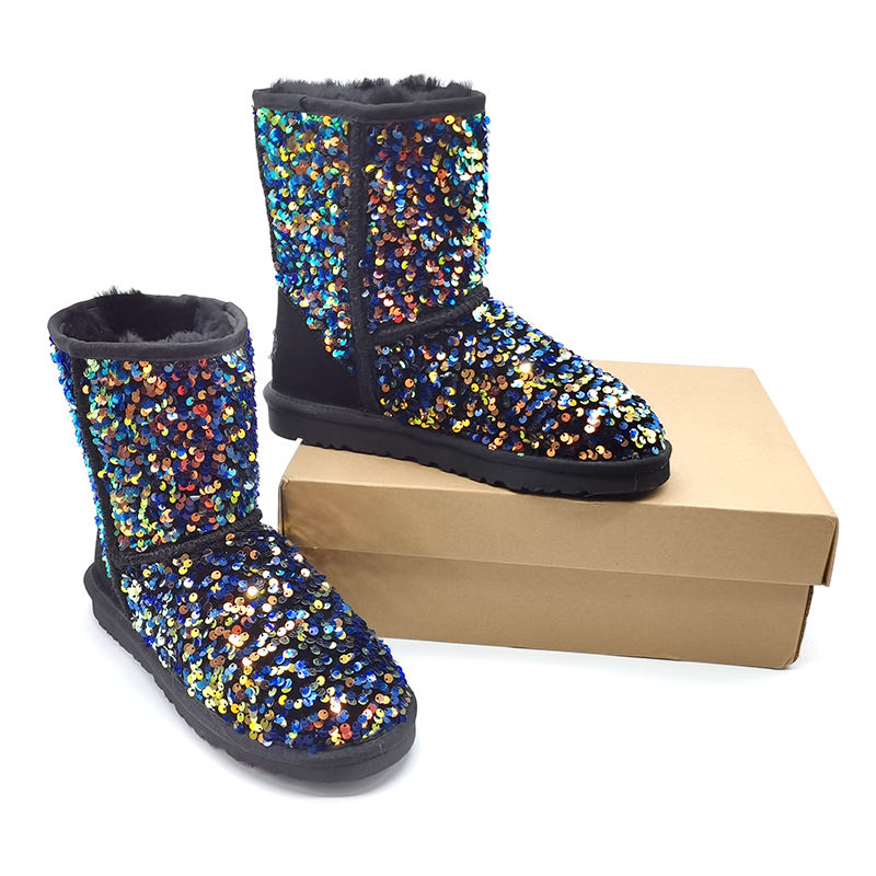 Wholesale Women Glitter Fur Boots Ladies Winter Warm Snow Boots
