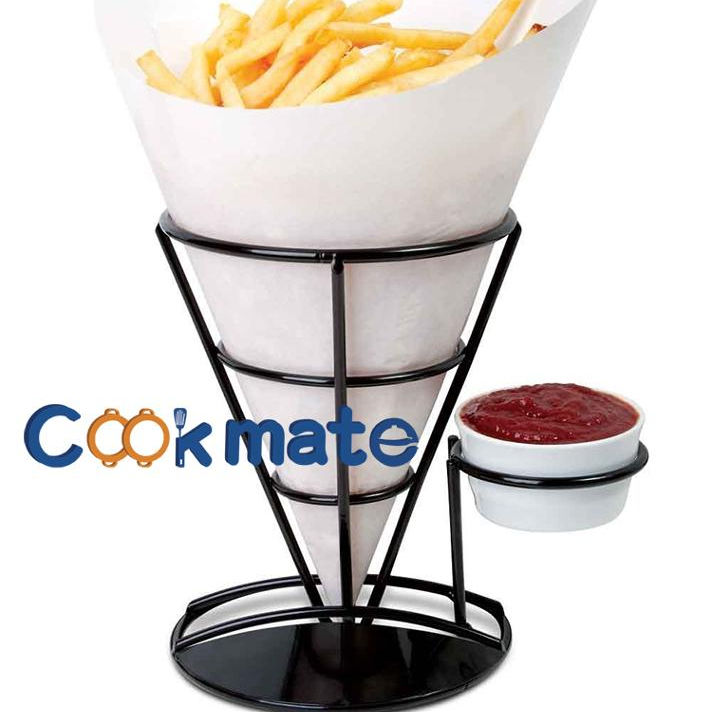 French Fries Cone & dipping Cup Holder, Classical Black Metal Diner Stand Holder French Fries