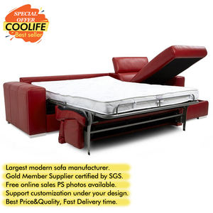 Right Hand Facing Storage Chaise Folding Red Leather Reclining Sleeper Sofa Bed