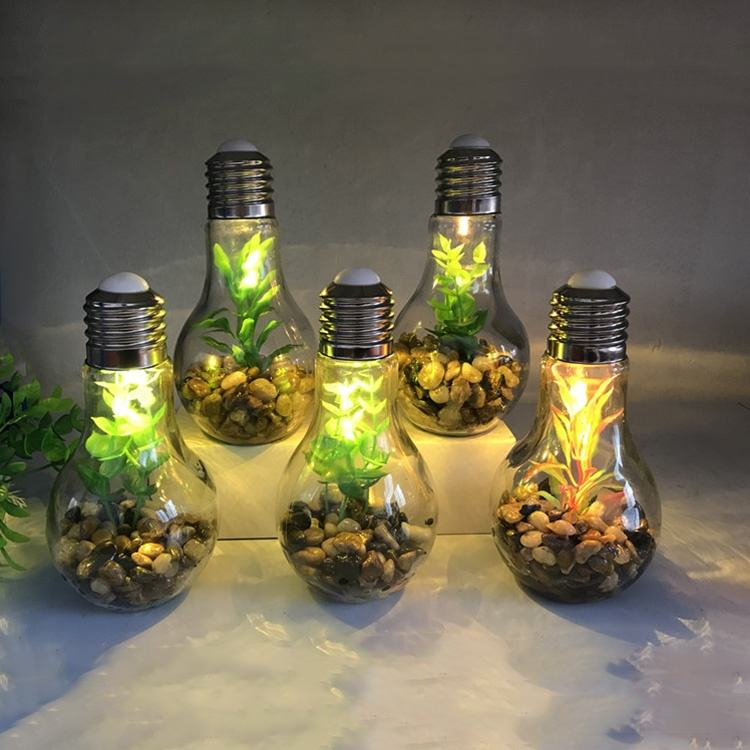 Holiday Decoration Green Artificial Plant Bulb Shape Glass LED Bottle Light