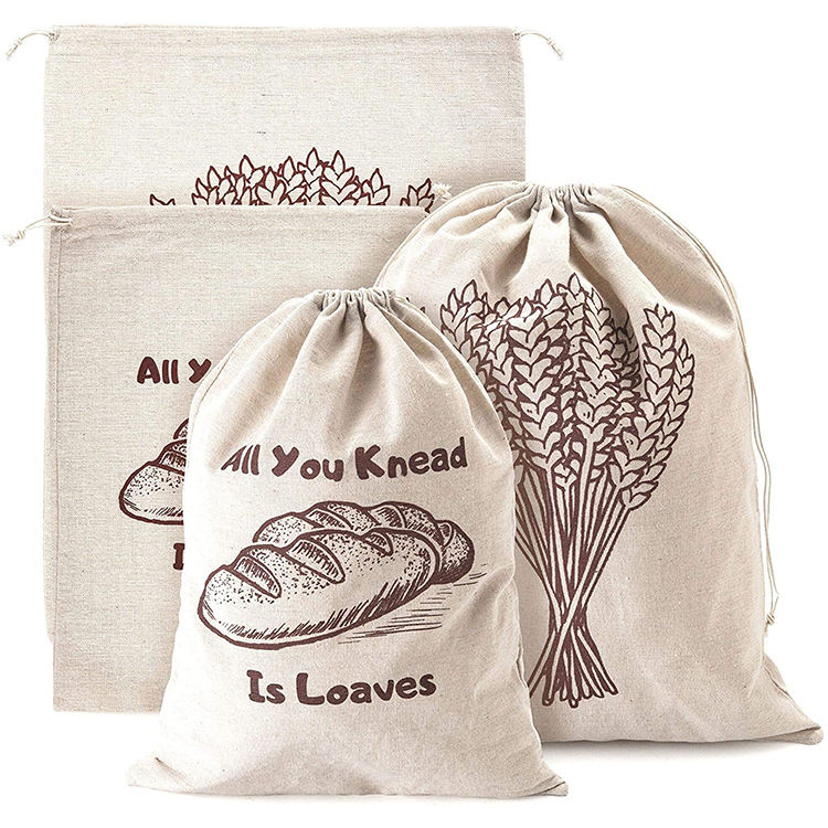 Customized logo eco linen pouch drawstring bag for bread