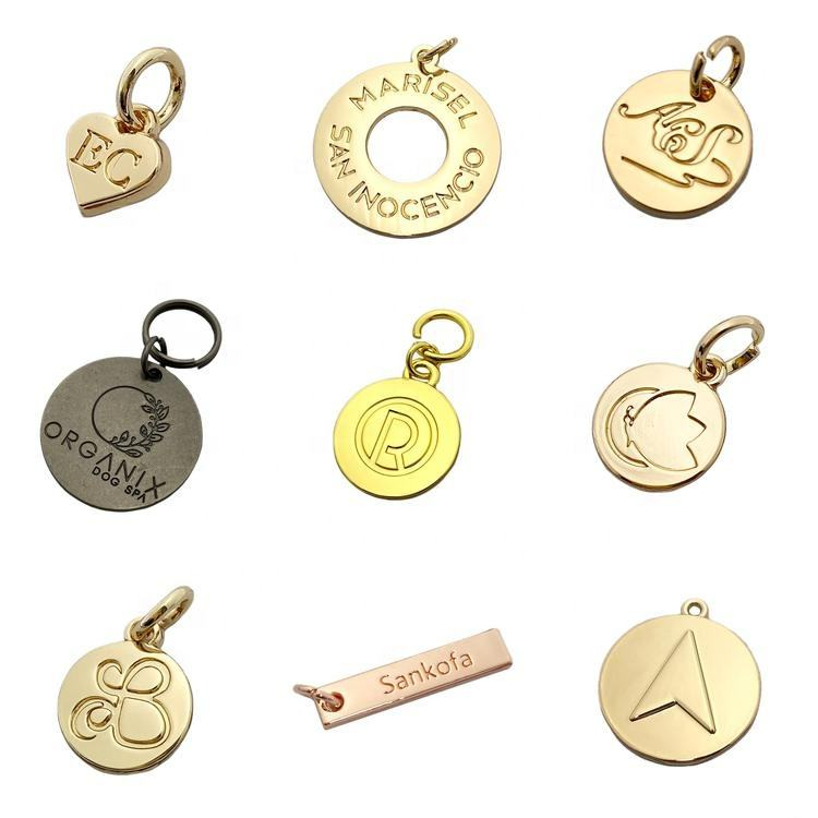 Zinc Alloy Charm Custom Embossed Brand Logo Jewelry Hang Tags For Pendant Necklace