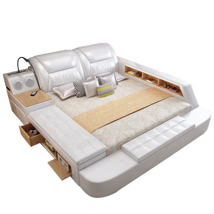 Cheap Price Bedroom Sets Multifunctional Leather Beds With Drawers Double Tatami Wooden LED Light Bed