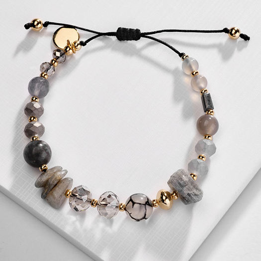 zooying New Fashion Natural Stone Beaded Bracelet Jewelry Crystal Stone Gem Bracelet Female Hand Woven Adjusting Bracelet