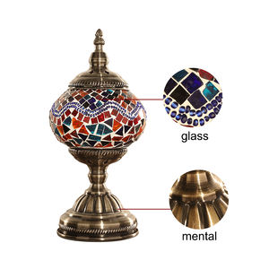 Table Lamp Glass Handmade Mosaic Turkish Luxurious Tiffany Lamp Vintage Home Decor Night Bed lamp