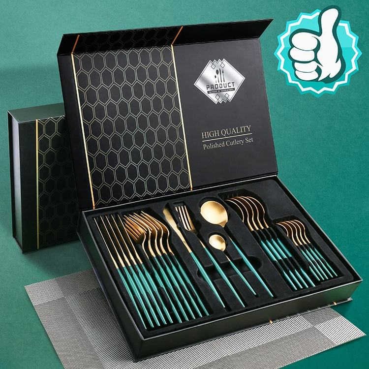 Stainless steel Western tableware 24-piece cutlery set 304 Portuguese cutlery cutlery gift box set