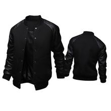 Men's Fashion Leather Collar Jacket Men's Clothing Plus Size Men Baseball Jacket Coat