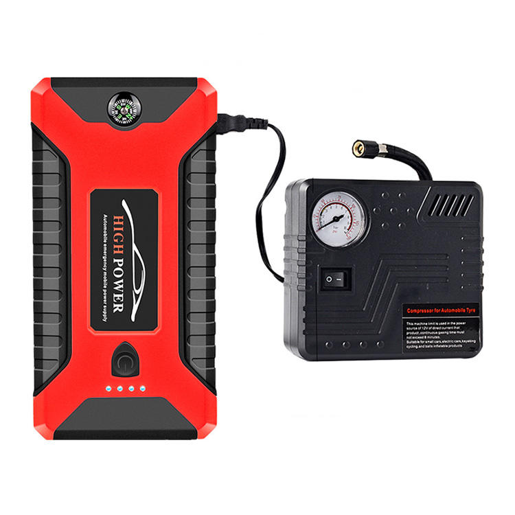 คุณภาพสูงขายส่ง 12V 8000 mAh Multifunction Power Bank รถ JUMP Starter ยาง Inflator Air Compressor