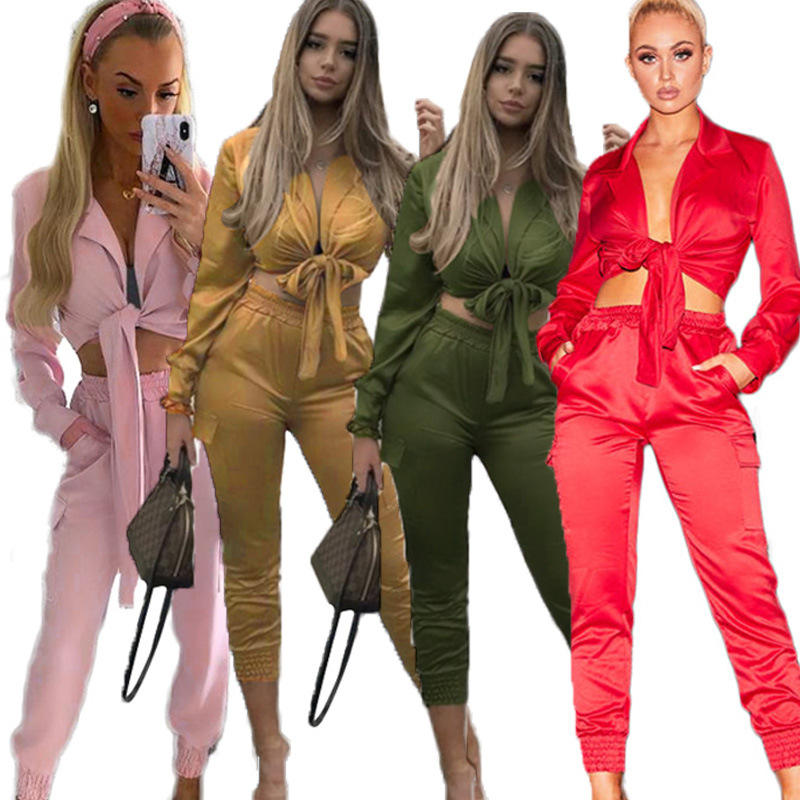 Streetwear 2 Piece Outfits Short Trumpet Sleeve Sweat Suits Casual Women Short Top And Slim Pant Set Two Piece Clothes