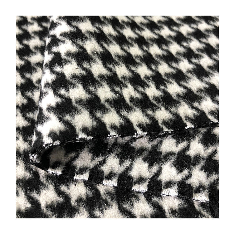 Free Sample Good Price And Service 50 Polyester 50 Wool Suit Fabric Hounds Tooth Blend Fabric
