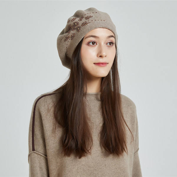 Chx Knit hat Female Autumn and Winter Literary Painter hat Beret Hand-Woven hat Color : Dark Brown