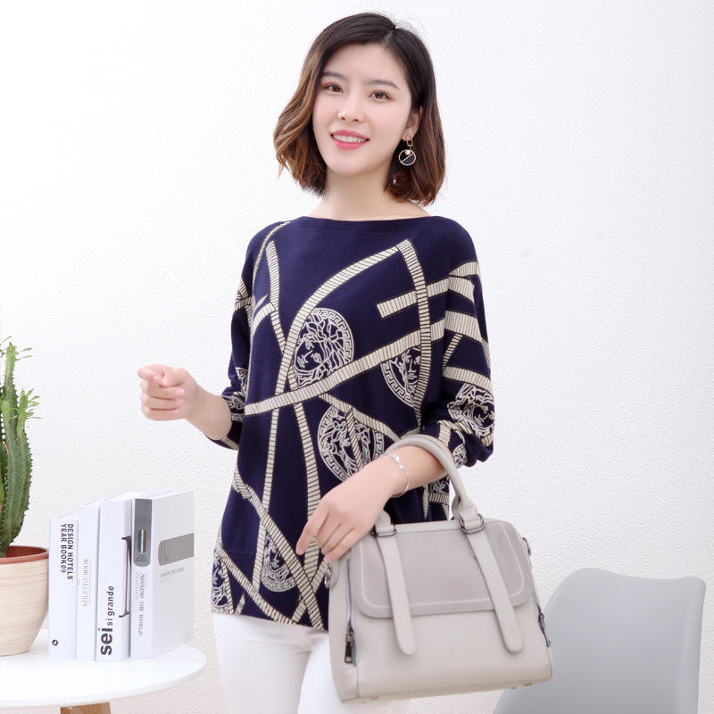wholesale new style wool style Women sweater long sleeve fashion printed sweater