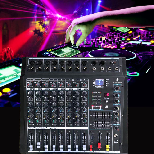GAX-800 8 Canali <span class=keywords><strong>Potenza</strong></span> Mixing Console con Amplificatore Bluetooth Record 16 Effetti Dsp Usb Professionale Mixer Audio